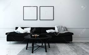 sparsely decorated modern living room with sofa coffee