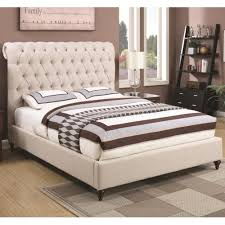Upholstered Bed Frame Cole California by Coaster Devon Queen Upholstered Bed In Beige Fabric Coaster Fine