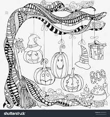 pattern coloring book halloween symbols stock vector 698596900