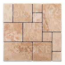 andean vanilla travertine opus mini pattern mosaic tile oracle