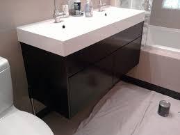 bathroom old style sink vanity counter black varnished wooden