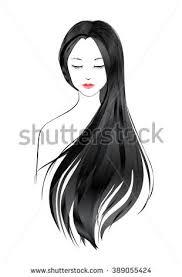 girl hair black hair girl stock vector 389055424