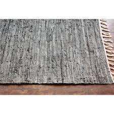 Leather Area Rugs Hand Woven Flatweave 3 U00274