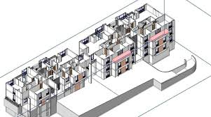 3d twin house apartment design revit cgtrader