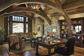 Home Office Computer Furniture by Rustic Home Office With Stone Fireplace By Locati Architects