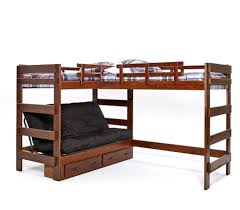 heartland l shaped futon loft bunk bed triple futon bed chocolate finish shown with under bed drawers