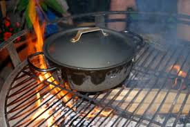 Cooking Over Fire Pit Grill - fire pit or grill skillet pot and tin can cooking
