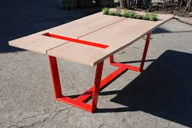 Oak Top Dining Table On Sale Oak Dining Table Live Edge Slab Oak Top On Steel