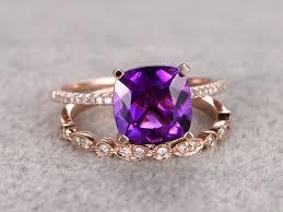 rose gold amethyst diamond ring diamond amethyst engagement rings amethyst wedding band bbbgem