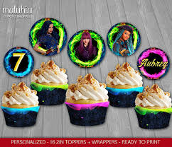 personalized cupcake toppers descendants 2 cupcake toppers disney descendants 2 custom