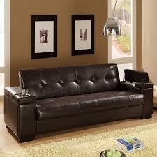 shop coaster fine furniture dark brown vinyl sofa bed at lowes com