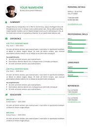 Free Traditional Resume Templates Free Traditional Resume Templates The One Page Resume Template