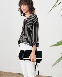 black and white striped blouse striped blouse black white stripes fraise comptoir des