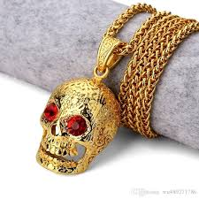 man name necklace images Wholesale original punk men necklace hip hop 18k gold gothic skull jpg