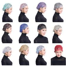 lace headwear 1pc women muslim shiny scarf lace headwear hat cap