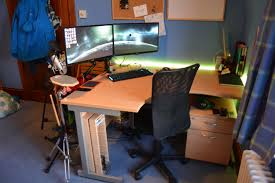 ergonomic desk setup two monitors best home furniture decoration