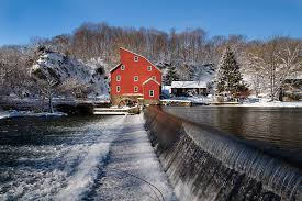 New Jersey landscapes images Winter landscape with a red mill clinton new jersey photograph by jpg