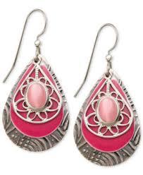 silver forest earrings silver forest earrings silver tone pink glass cat s eye layered