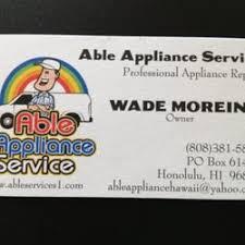 Appliance Business Cards Able Appliance Service 86 Reviews Appliances U0026 Repair Manoa