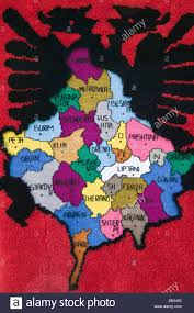 World Map Rug by Kosovo Pec Roadside Souvenir Stall Selling Rug With Albanian Map