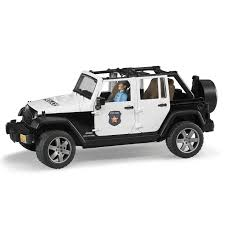 jeep black rubicon bruder toys jeep wrangler unlimited rubicon police car with
