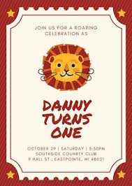 1st birthday lion theme 1st birthday invitation templates by canva