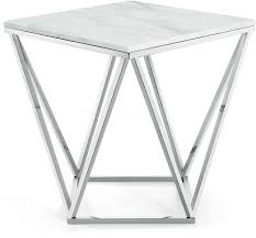 white marble accent table square white marble geometric silver base coffee table