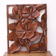 hibiscus wood wall panel carved traditional balinese decoration