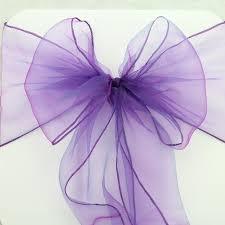purple chair sashes 50pcs wedding chair sashes sash cadbury purple organza chair