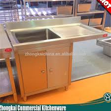 Commercial Kitchen Cabinets Stainless Steel Free Standing 304 Stainless Steel Kitchen Sink With S S Cabinet