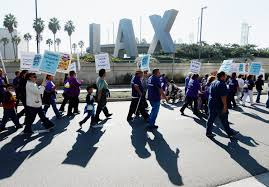 protest at los angeles international airport delays thanksgiving