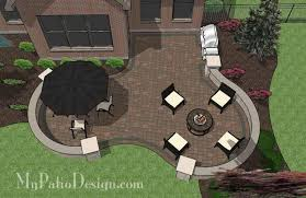Backyard Brick Patio Design With Grill Station Seating Wall And by Diy Outdoor Living Design With Seat Wall Downloadable Plan