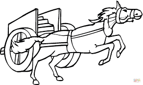horse pulling a chariot coloring page free printable coloring pages