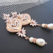 Chandelier Pearl Earrings For Wedding Rose Gold Bridal Earrings Rose Gold Chandelier Earrings Rose