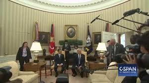 media has a shoving match in the oval office almost knocking down