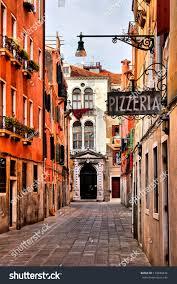 quaint street historic venice italy pizzeria stock photo 173840444