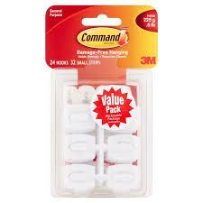 command mini hooks value pack white 24 hooks 32 strips pack