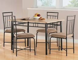 Steel Dining Chairs Furniture Black Iron Rectangle Dining Table With Brown Top Plus