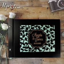 black wedding guest book wooden wedding guest book with stylish laser cut cover 50 black or