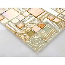 yellow crystal glass tile backsplash ideas bathroom brushed