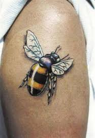 cool bumblebee tattoo design for half sleeve