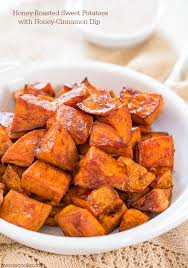 honey roasted sweet potatoes with honey cinnamon dip averie cooks