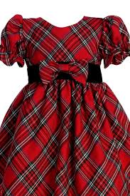 red u0026 green plaid girls ruffle sleeve holiday dress w velvet trim