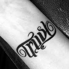 trust tattoo designs 40 ambigram tattoos for men word art