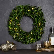 led light up boxwood wreaths west elm uk