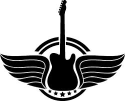 guitar with wings logo sticker tenstickers