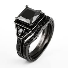 black wedding sets princess cut black cubic zirconia black engagement ring wedding