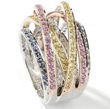 coloured sapphire rings images 14k white gold multi colored sapphire diamond criss cross ring jpg