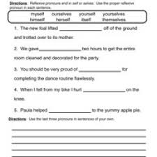 pronoun worksheet 4 reflexive pronouns