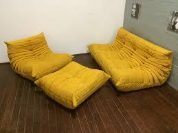 yellow alcantara togo sofa set by michel ducaroy for ligne roset